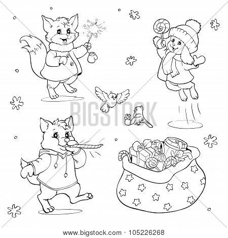 Coloring Book Or Page. Cartoon Animals With Christmas Gifts.