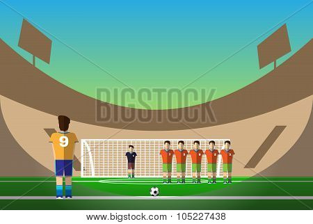 Soccer Penalty On Football Stadium
