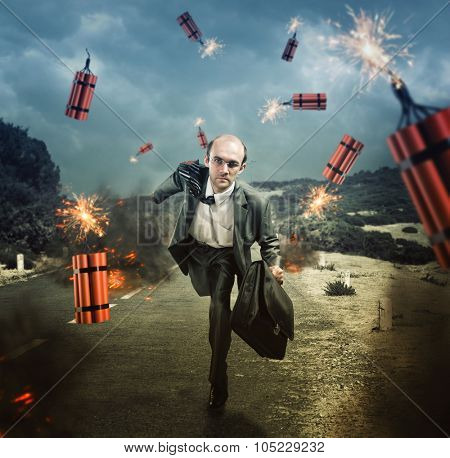 Businessman running from dynamite exploding on the road poster