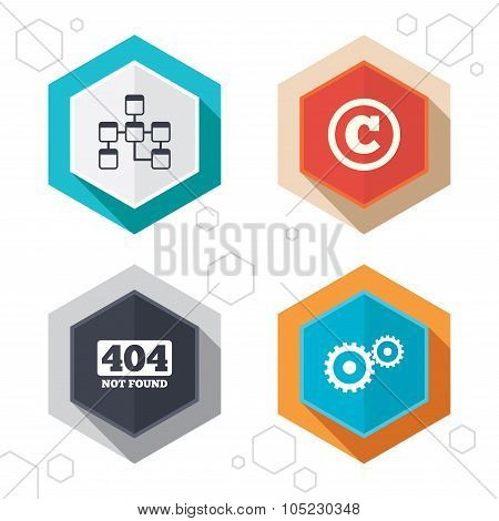 Hexagon buttons. Website database icon. Copyrights and gear signs. 404 page not found symbol. Under construction. Labels with shadow. Vector poster