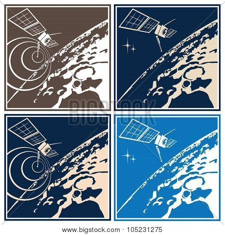 Stylized vector illustration on the theme of space exploration. Research satellite orbiting the distant planet or planetoid poster