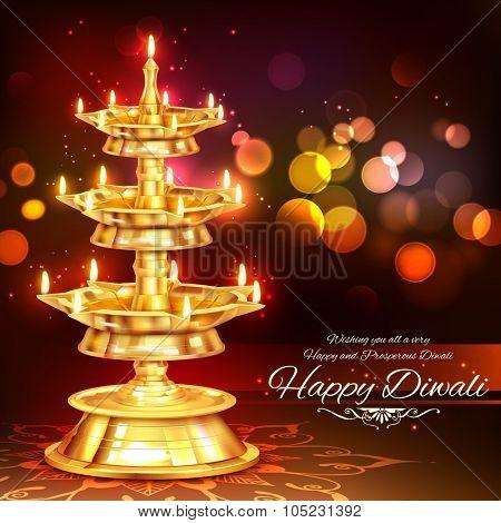 illustration of golden diya stand on abstract Diwali background