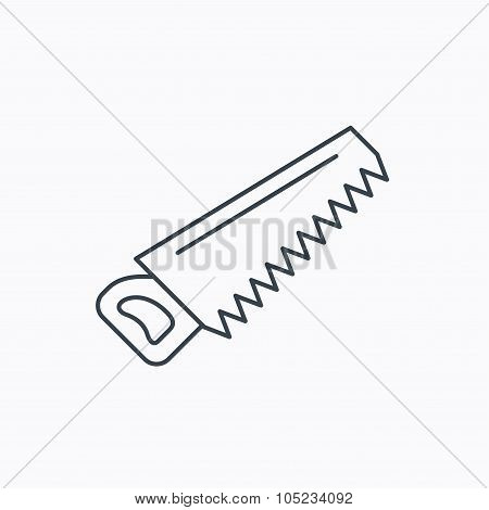 Saw icon. Carpentry equipment sign. Hacksaw symbol. Linear outline icon on white background. Vector poster
