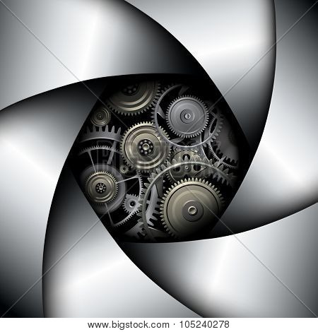 Background with camera lens shutter with gears inside, vector illustration.