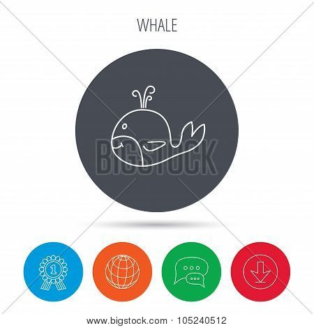 Whale icon. Largest mammal animal sign. Baleen whale with fountain symbol. Globe, download and speech bubble buttons. Winner award symbol. Vector poster