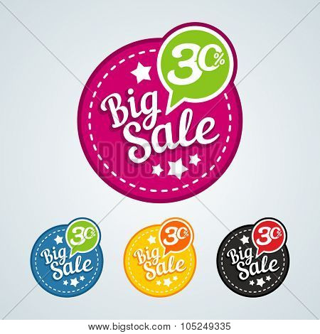 Big sale of 30 percent of the round label. Vector illustration in different colors.