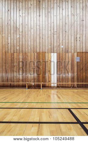 Inside an old gym hall