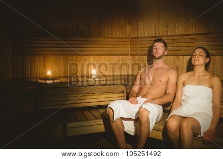 Couple together in the sauna at the spa