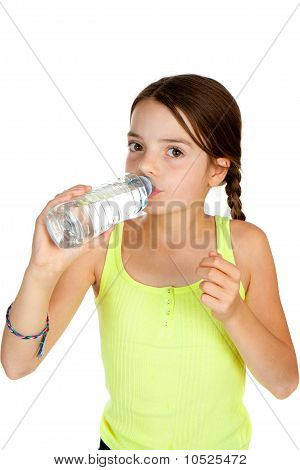 Primary Aged Girl Drinking Mineral Water