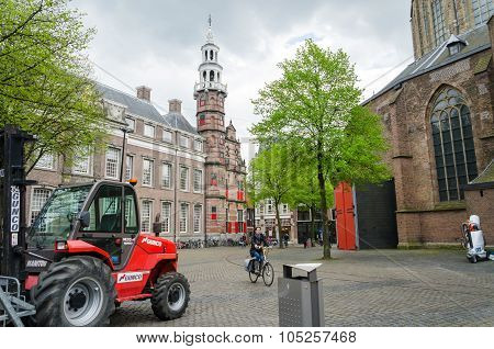 The Hague, Netherlands - May 8, 2015: People At Big Church In The Hague