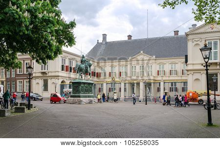 The Hague, Netherlands - May 8, 2015: People Visit Noordeinde Palace, The Hague