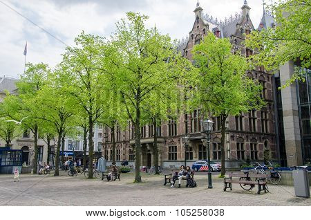 The Hague, Netherlands - May 8, 2015: People At Het Plein In Center Of The Hague, Netherlands