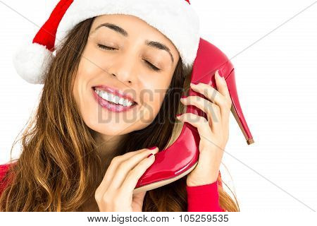 Christmas Woman With Her Red Shoes For Christmas Gift