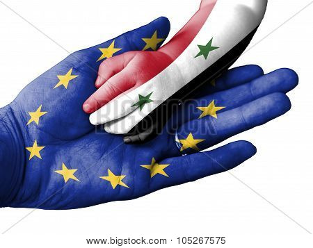 Adult Man Holding A Baby Hand With Europen Union And Syria Flags Overlaid. Isolated On White