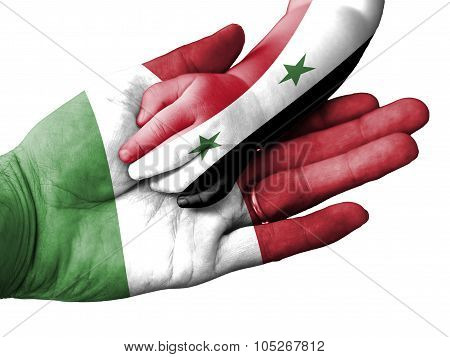 Adult Man Holding A Baby Hand With Italy And Syria Flags Overlaid. Isolated On White