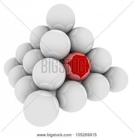Red ball in a pyramid of spheres to illustrate standing out or being special, unique or different or best in the group