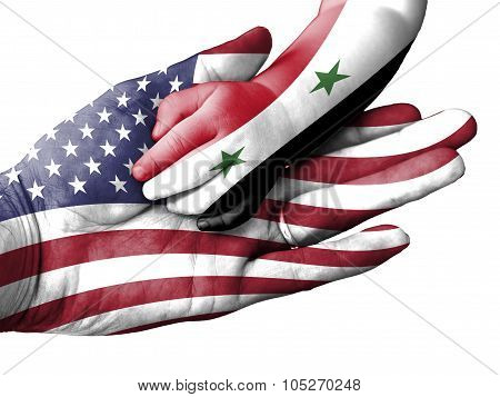 Adult Man Holding A Baby Hand With United States And Syria Flags Overlaid. Isolated On White