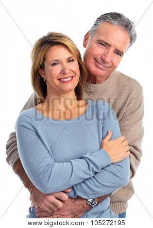 Happy loving elderly couple isolated white background.