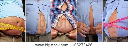 Fat man belly. Obesity and weight loss concept. poster