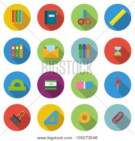 Set Items Chancellery In Flat Style Illustration