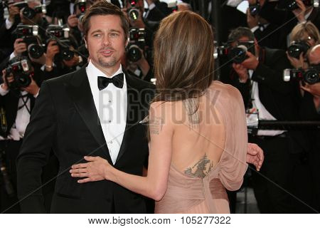 CANNES, FRANCE - MAY 20: Actors Angelina Jolie and Brad Pitt attend the 'Inglourious Basterds' Premiere at the  Theatre Lumiere during the 62nd  Cannes Film Festival on May 20, 2009 in Cannes, France