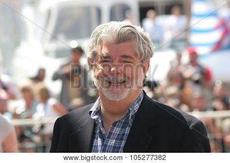 CANNES, FRANCE - MAY 18: Writer George Lucas attends the Indiana Jones photocall at the Palais des Festivals during the 61st Cannes International Film Festival on May 18, 2008 in Cannes, France