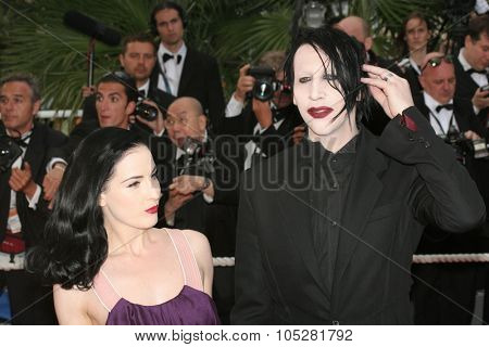 CANNES, FRANCE - MAY 20:  Dita Von Teese and  Marilyn Manson attend the 'Selon Charlie' premiere at the Palais des Festivals during the 59th  Cannes Film Festival May 20, 2006 in Cannes, France
