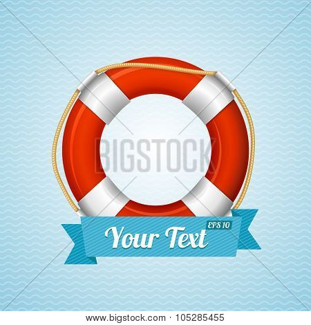 Life Bouy Background Sailor. Vector