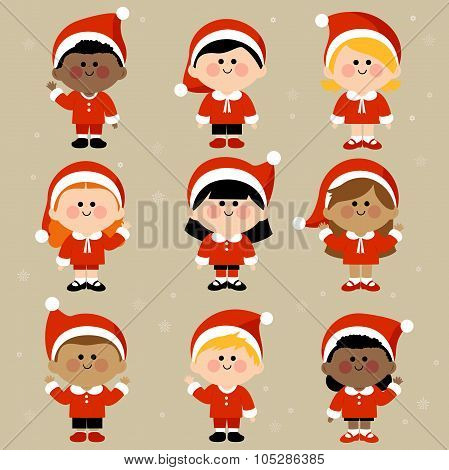 Diverse group of children dressed in Christmas Santa Claus costumes.