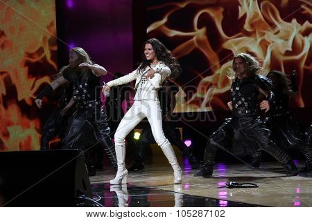 KIEV, UKRAINE - OCT. 23: Winner Eurovision singer Ruslana arrives at the opening , at the Opera Theatre 40th Film Festival