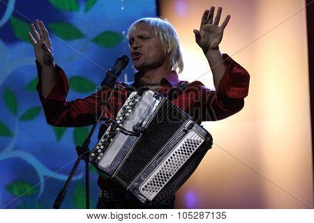 KIEV, UKRAINE - SEPT. 23: Singer Oleg Skripka  arrives at the opening , at the Opera Theatre 40th Film Festival