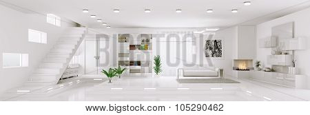 Interior of white apartment living room hall panorama 3d render poster