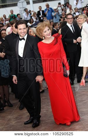 CANNES, FRANCE - MAY 22: Marisa Paredes and Edgard Ramirez attend the 'Les Bien-Aimes' premiere at the Palais des Festivals during the 64th Cannes Film Festival on May 22, 2011 in Cannes, France