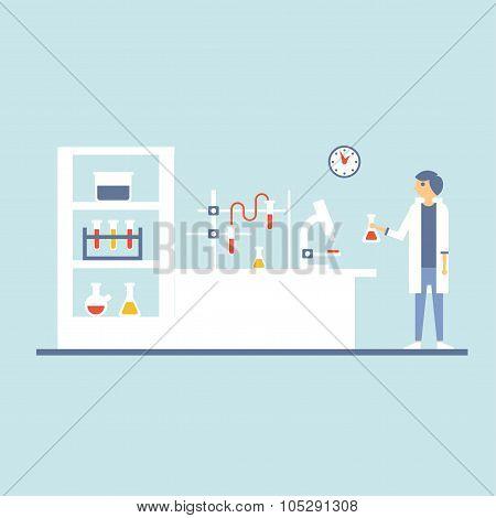 Healthcare Laboratory Testing Room, Flat Design Vector Illustration