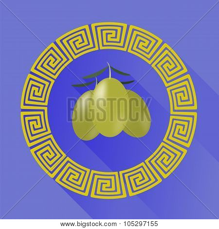 Green Olives in Greek Circle Frame