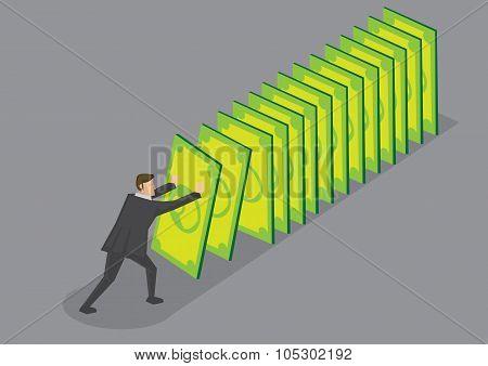 Money Domino Effect Vector Cartoon Illustration