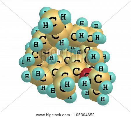 Tocopherol - vitamin E - molecular structure on white background