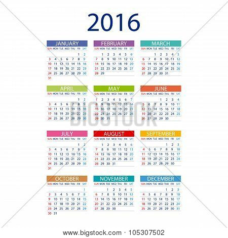 2016 Calendar Simple Design Vector Date Template Month