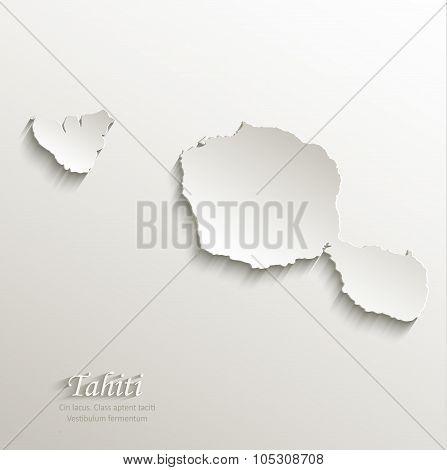 Tahiti map card paper 3D natural vector French Polynesia