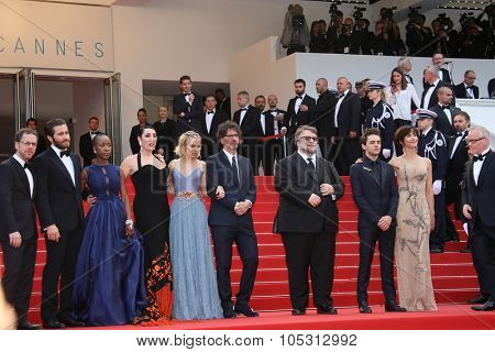 Ethan Coen, Jake Gyllenhaal,Rossy de Palma, Sienna Miller, Joel Coen, Xavier Dolan,Sophie Marceau attend the closing ceremony during the 68th Cannes Film Festival on May 24, 2015 in Cannes, France.