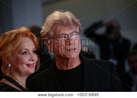 Venice, Italy - 10 September 2015:  Actor Jurgen Prochnow and Verena Wrengler attend 'Remember' premiere during the 72nd Venice Film Festival