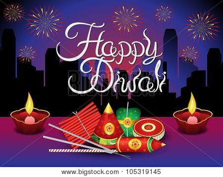 Artistic Detailed Diwali Background With Crackers