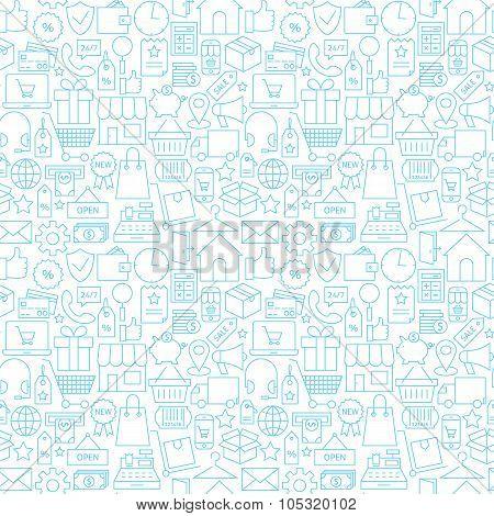 Thin Shopping Retail Line White Seamless Pattern