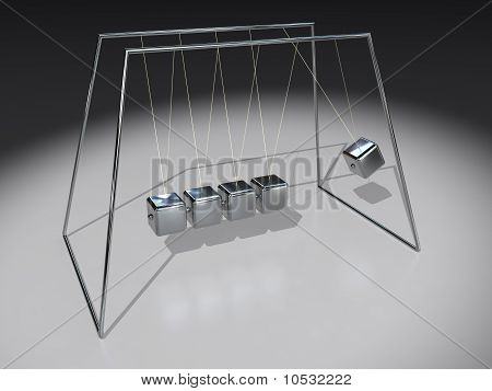 A Newton Pendulum with cubes on white background poster