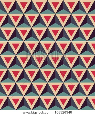 Vector modern seamless colorful geometry pattern 3D triangles color red blue abstract