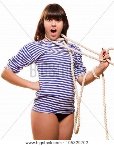 Beautiful woman sailor in pinup style strangles herself on white background poster