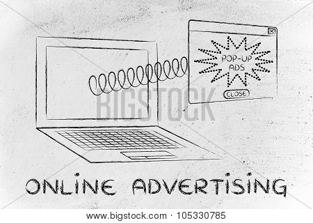 Online Advertising With Pop-up Coming Out Of Laptop Screen With A Spring