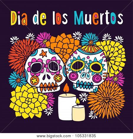 Dia De Los Muertos Or Halloween Greeting Card, Invitation, With Hand Drawn Ornamental Sculls