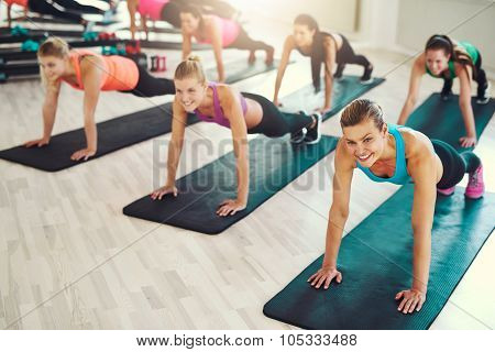 Large Group Of Young Women Working Out