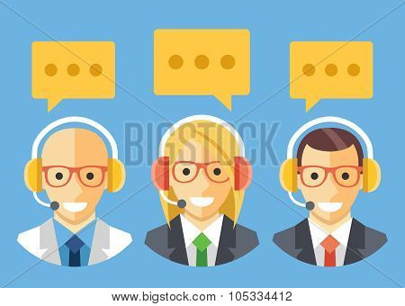 People with headset. Technical support, customer support, call center staff.Vector flat illustration